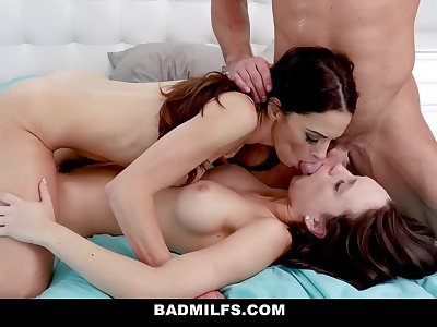BadMILFS - Horny Stepmom Has Threesome with Daughter