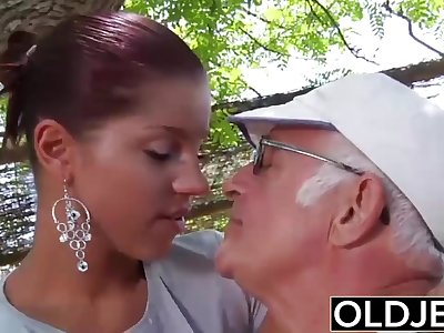 Young Girlfriend caught fucked by old man she sucks his dick and swallows