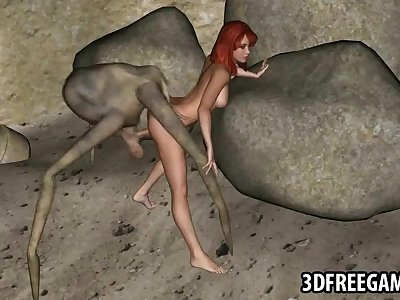 3D redhead fucked by an alien spider