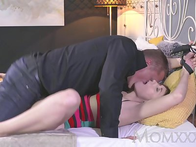 MOM Housewife is tied to the bed and fucked