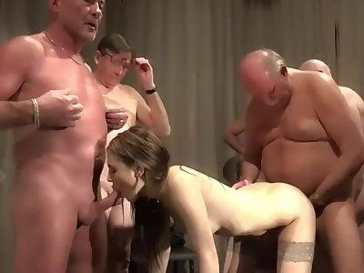 5 old pervs gangbang young nurse at a meeting