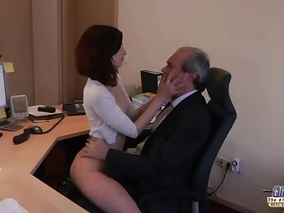 I am a youthful assistant seducing my boss at the office asking for sex