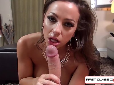 Steamy Abigail Mac giving the best blowjob ever seen, huge hooters & bubble rump