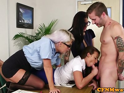 Teenage trio humiliating a naked stud