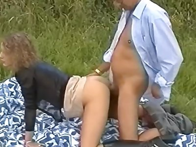 Old grey haired boy fucks junior woman outdoors