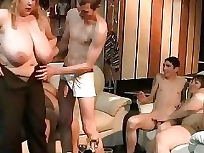 Big blonde rides and sucks cock at soiree